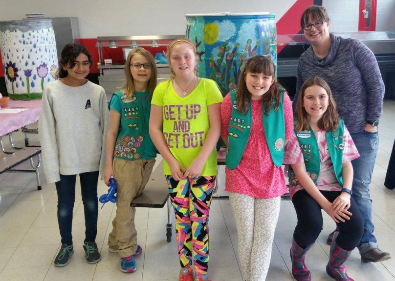 Junior Girl Scout troop with leader, Rachel Kaiser.